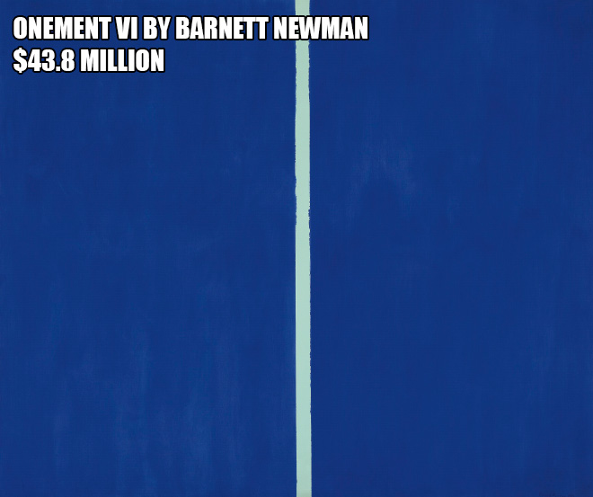Onement Vi By Barnett Newman - $43.8 million
