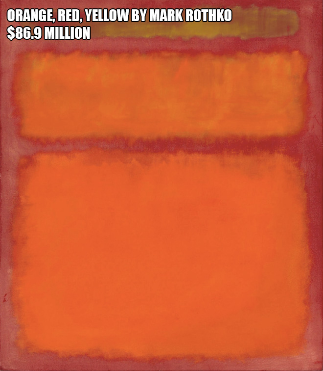 Orange, Red, Yellow by Mark Rothko - $86.9 million