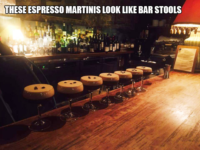 These espresso martinis look like bar stools.