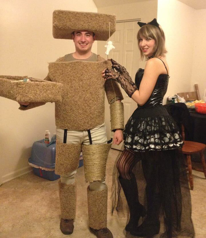 Cat and scratch post Halloween costume.