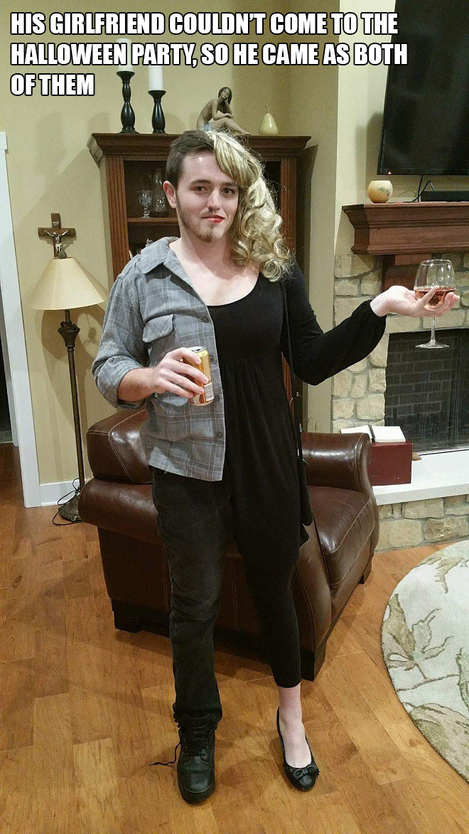 His girlfriend couldn't come to the Halloween party, so he came as both of them.