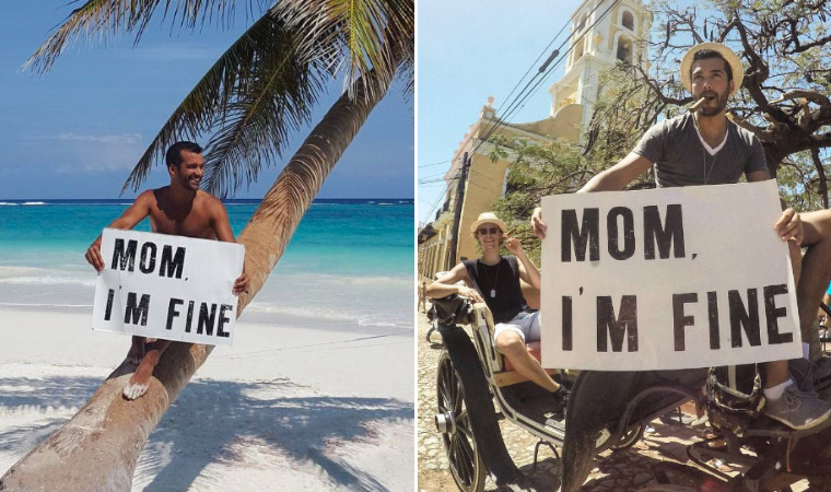 World Traveler Finds Unique Way To Let Mom Know He's Fine