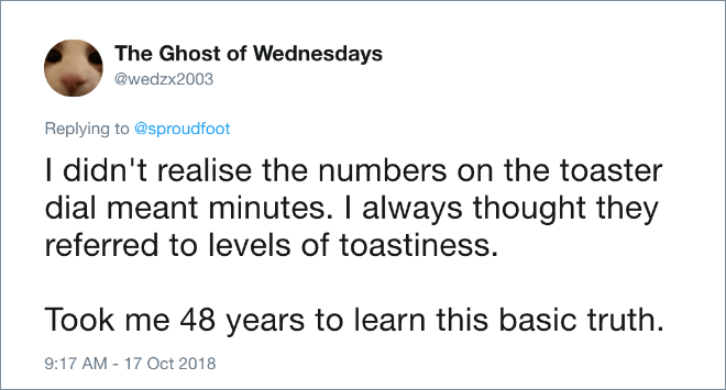 I didn't realise the numbers on the toaster dial meant minutes. I always thought they referred to levels of toastiness. Took me 48 years to learn this basic truth.