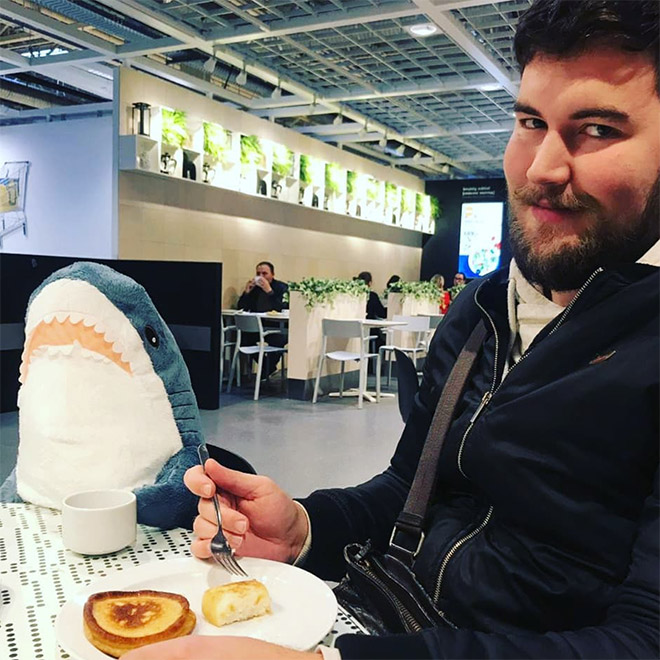 Eating pancakes with a shark.