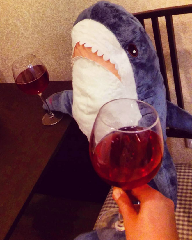 Drinking wine with a shark.