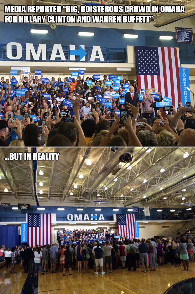 Big, boisterous crowd in Omaha for Hillary Clinton and Warren Buffett.