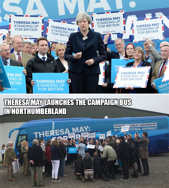 Theresa May launches the campaign bus in Northumberland.