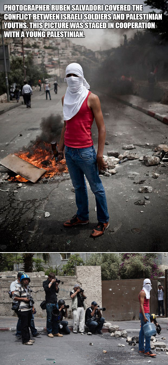 Photographer Ruben Salvadori covered the conflict between Israeli soldiers and Palestinian youths. This picture was staged in cooperation with a young Palestinian.