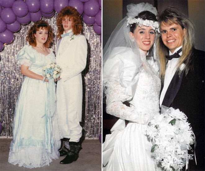 Funny 1980s haircuts.