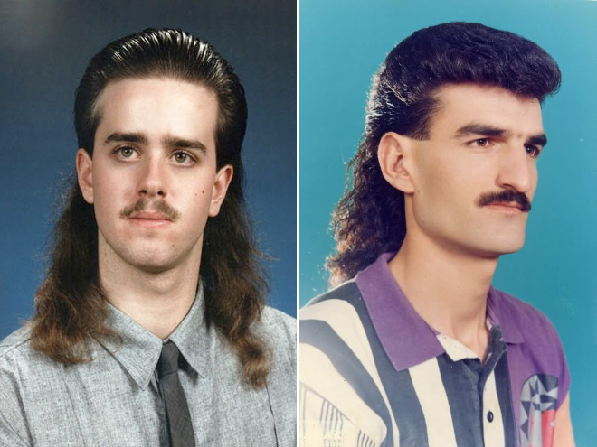 Stylish 1980s haircuts.