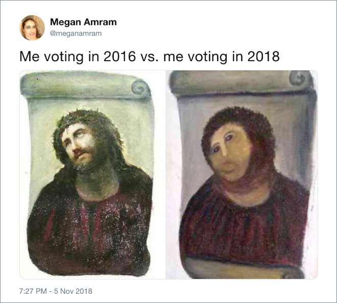 Me voting in 2016 vs. me voting in 2018.