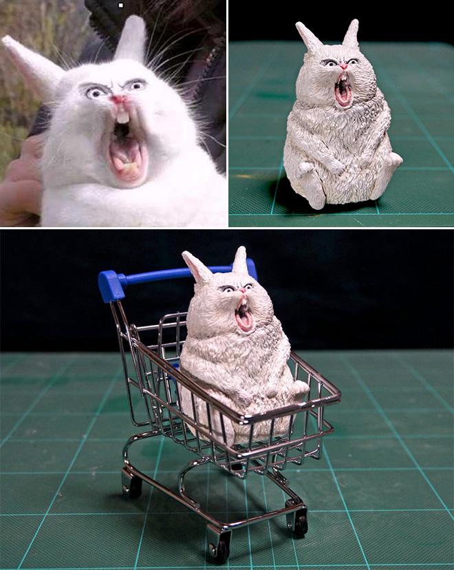 Funny screaming rabbit sculpture.