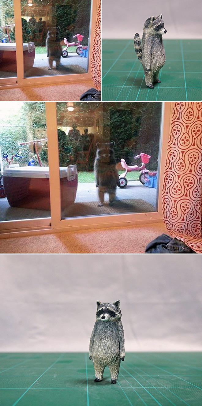 Funny standing raccoon sculpture.