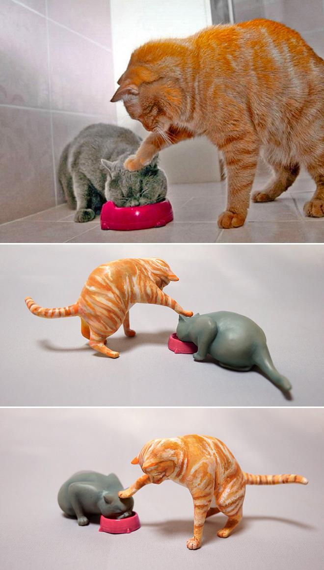 Funny cats sculpture.