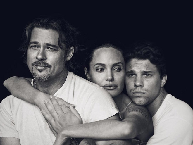 Artistic black and white photo with Brad Pitt and Angelina Jolie.