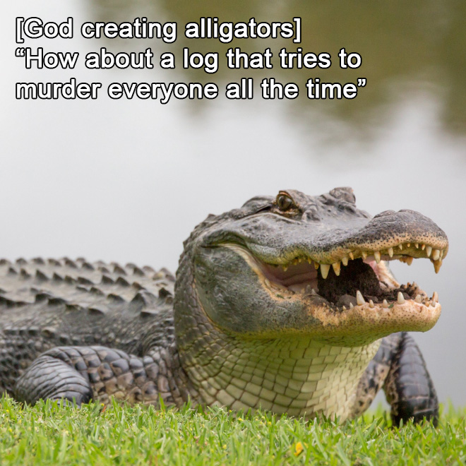 God creating alligators.
