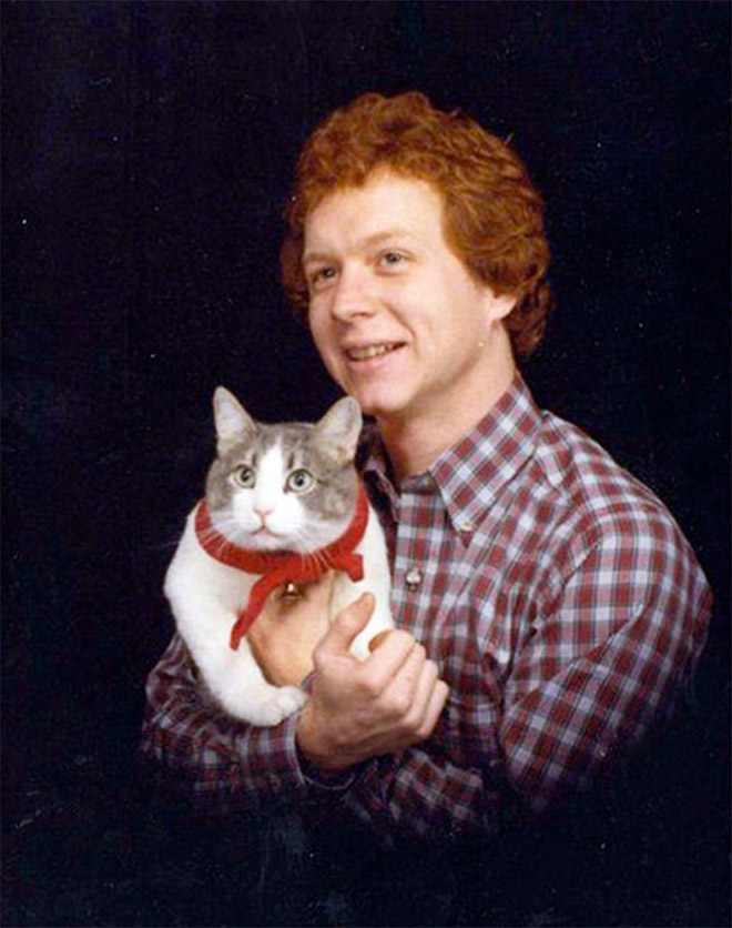 Funny glamour shot with a cat.
