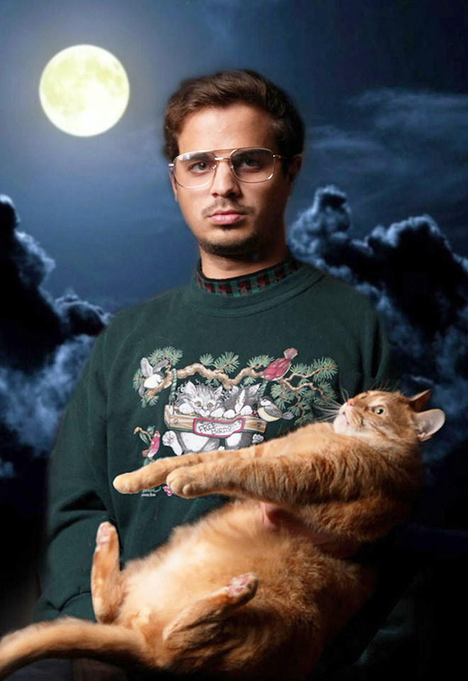 Brilliant glamour photo with a cat.