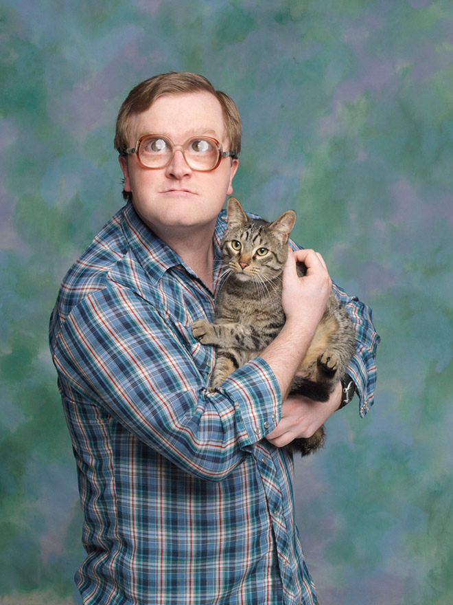Bubbles posing with a kitty.