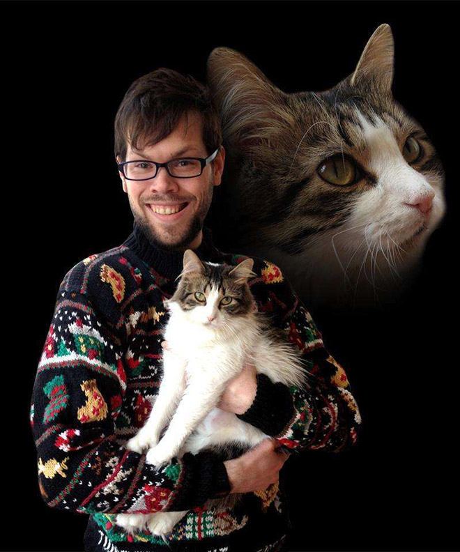 Awkward glamour photo with a cat.
