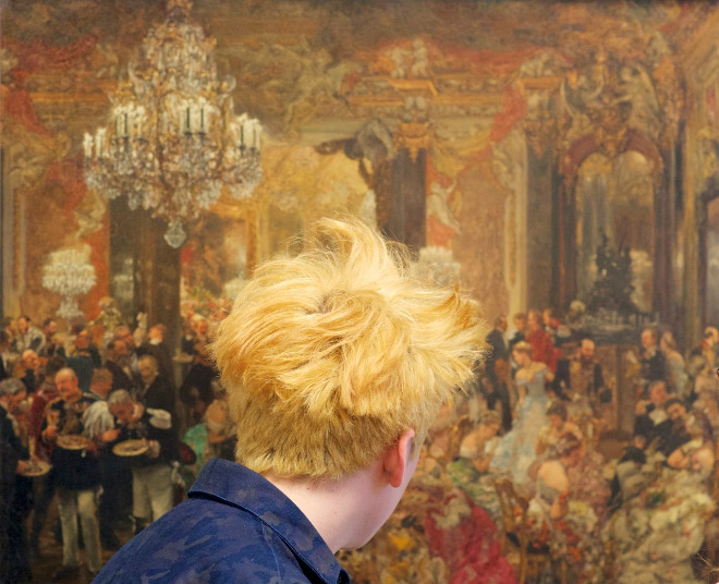 Hair perfectly blending in a painting.