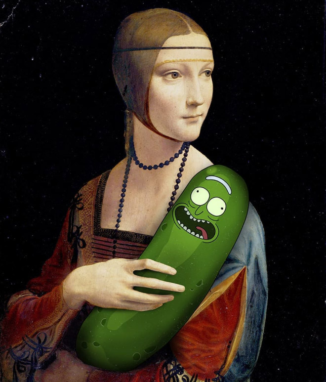Pickle Rick mashed with Mona Lisa.
