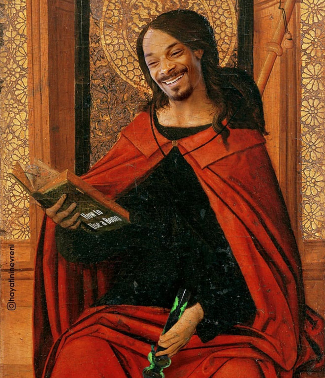 Snoop Dogg mashed up with a classic painting.