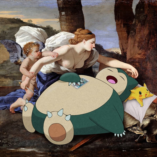 Pokemon mashed up with a classic painting.