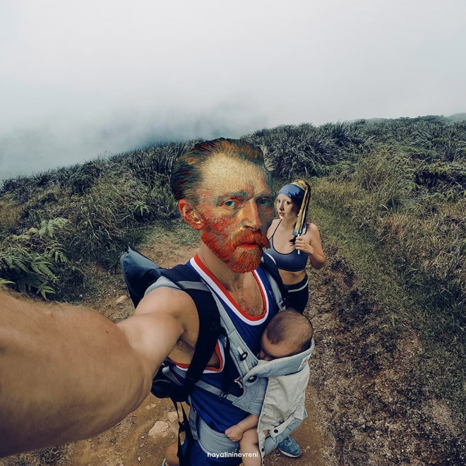 Famous paintings mashed up with a typical Instagram selfie.