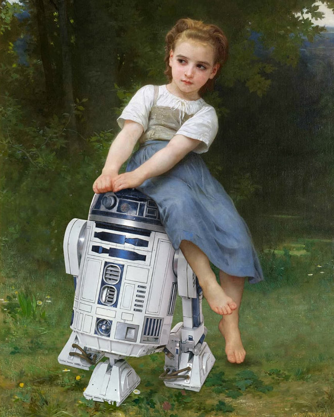 R2D2 mashed up with a painting.