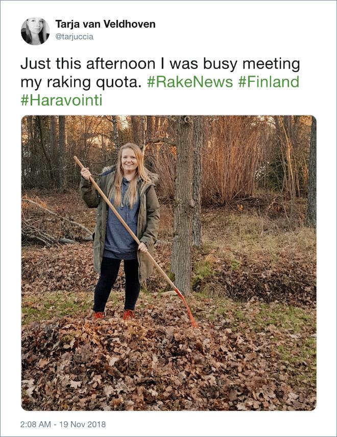 Just this afternoon I was busy meeting my raking quota. #RakeNews #Finland #Haravointi