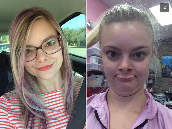 Same girl on two different photos.