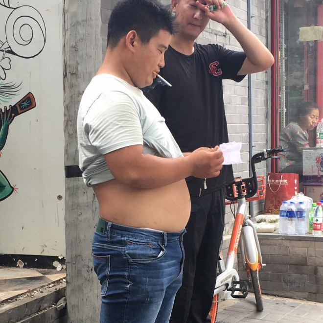 Beijing bikini gut on display.