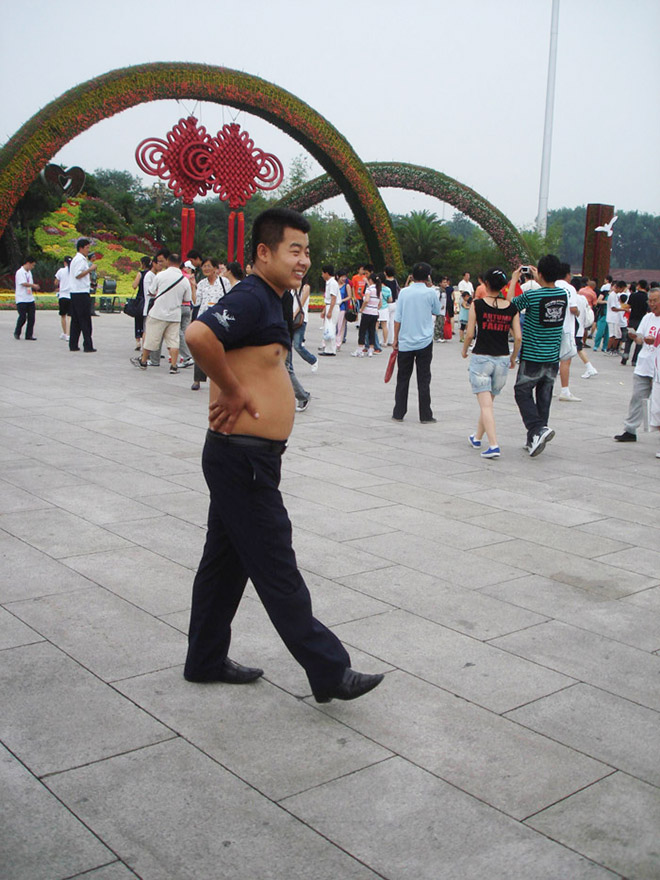 Weird Chinese men's fashion trend: the Beijing bikini.