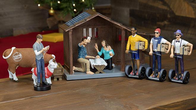 Hipster nativity scene.