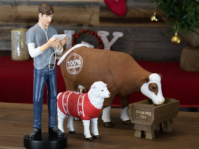 Hipster with his livestock.