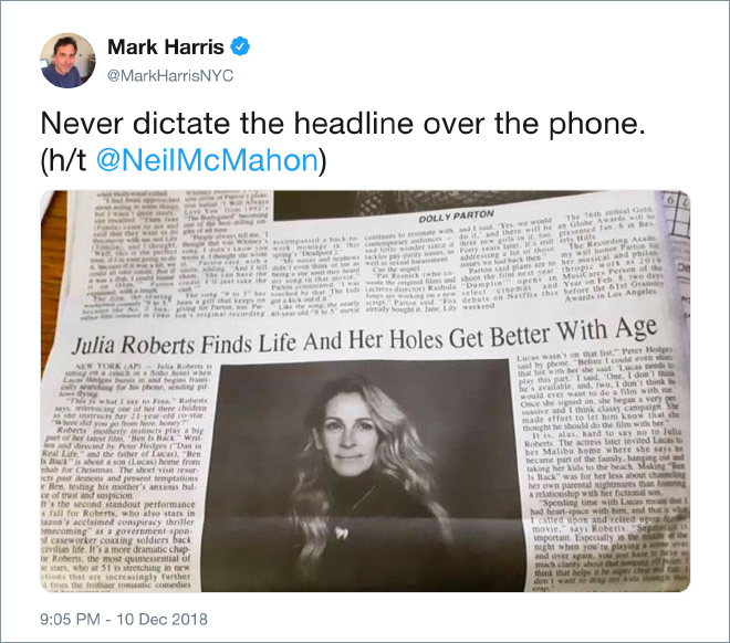 Never dictate the headline over the phone.