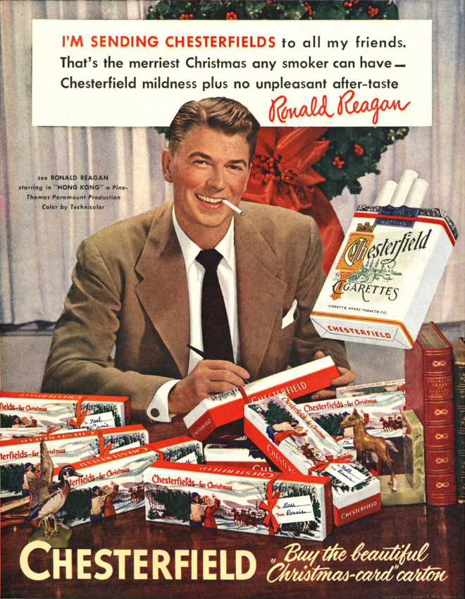 Ronald Reagan pushing drugs fro Christmas.