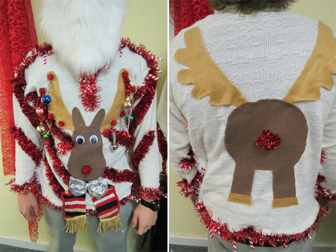 Ugly Christmas sweater: front and back.