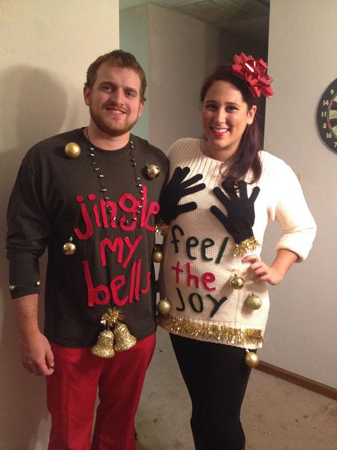 Beautiful couple in lovely sweaters.