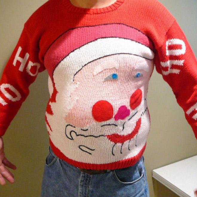 Disfigured Santa Christmas sweater.