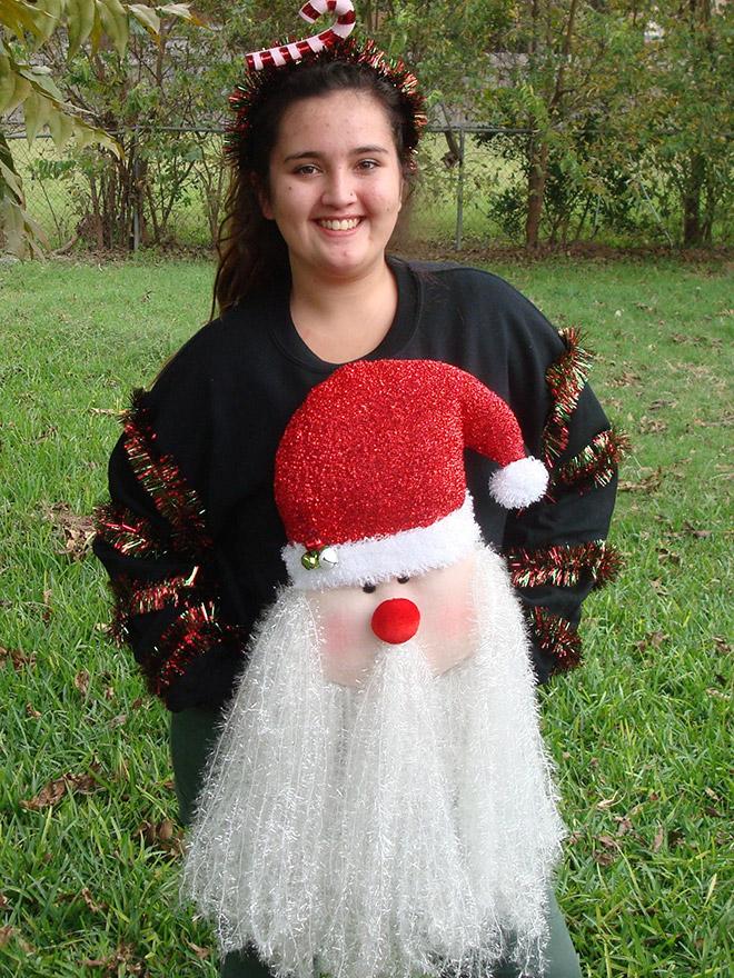 Ugly Santa Christmas sweater.