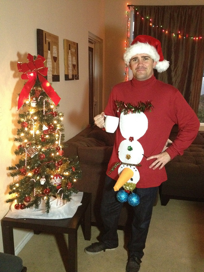 Naughty Christmas sweater.