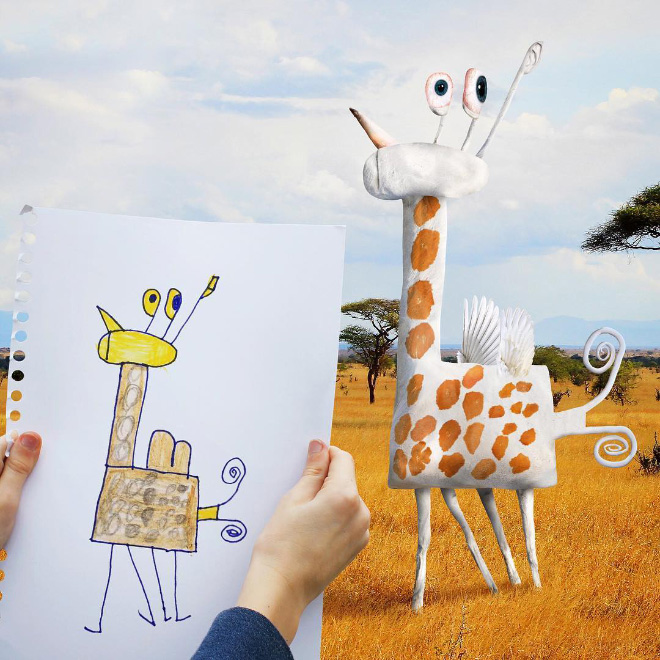 Giraffe doodle comes alive.
