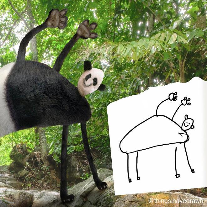 Panda doodle comes alive.