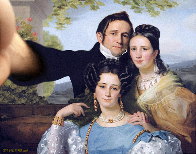 Portrait of Théodore Joseph Jonet And His Two Daughters selfie.