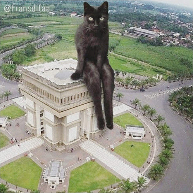 Giant cat awkwardly sitting on a building.