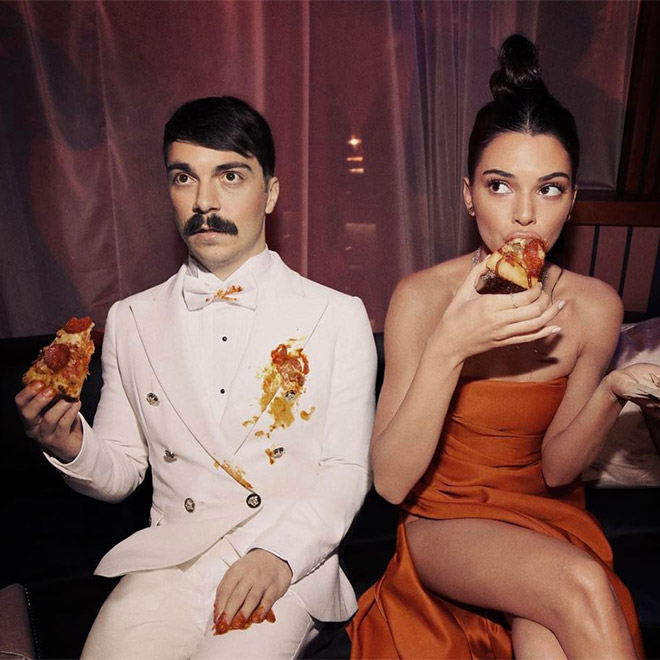 Kirby Jenner and Kendall Jenner eating together.