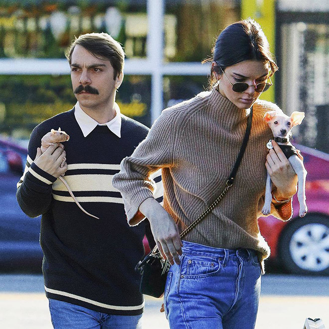Kirby Jenner and Kendall Jenner with their pets.