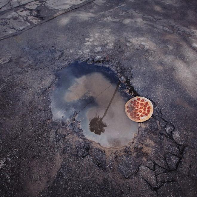 Free roadside pizza.